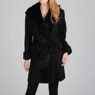 Hilary Radley Women's Belted Hooded Wrap Coat
