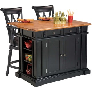 Black/ Oak Kitchen Island and Two Deluxe Bar Stools