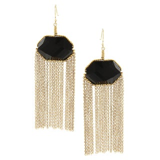 Goldtone Black CZ Tassle Earrings