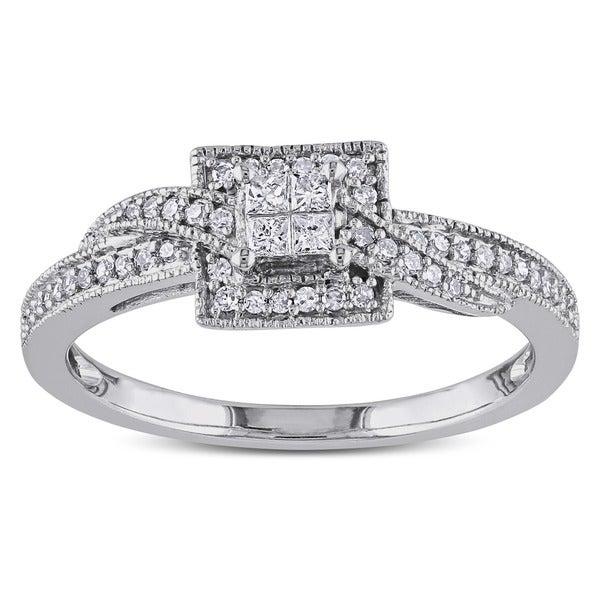 Miadora 10k White Gold 1/4ct TDW Princess-cut Diamond Ring (G-H, I1-I2)