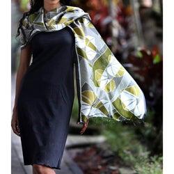 Silk 'Olive Leaf' Batik Shawl (Indonesia)