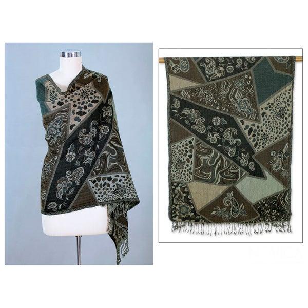 Wool 'Indian Collage' Shawl (India)