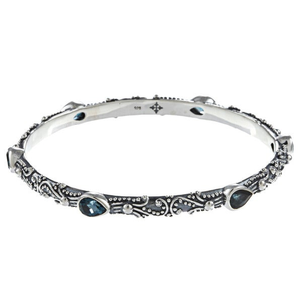Madison Sterling Silver London Blue Topaz Bangle Bracelet