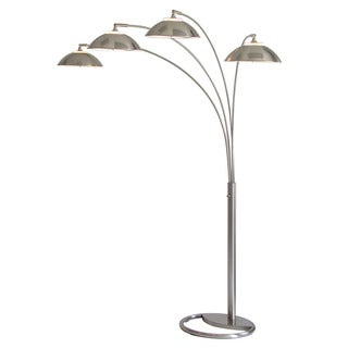Saucer Brushed Nickel Four-shade Arc Floor Lamp