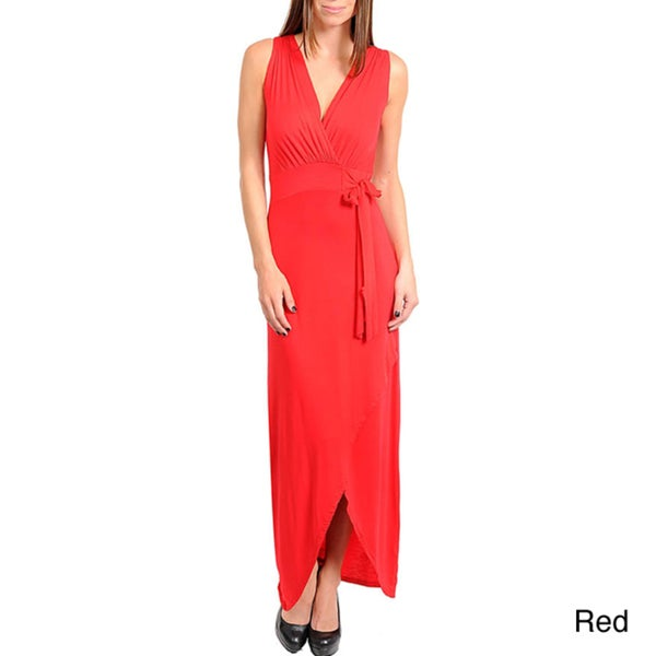 Stanzino Women's Sleeveless High-Low Dress with Waist Tie