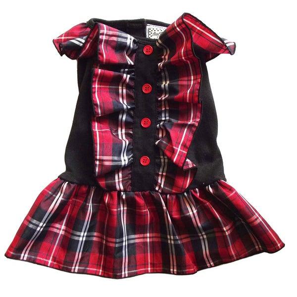 AnnLoren Red and Black Plaid Christmas Dog Dress