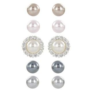 Roman Faux Pearl Interchangeable Crystal Setting 5-pair Earring Set