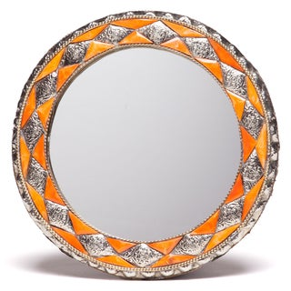 11-Inch Round Hand-carved Henna Bone Moroccan Mirror (Morocco)