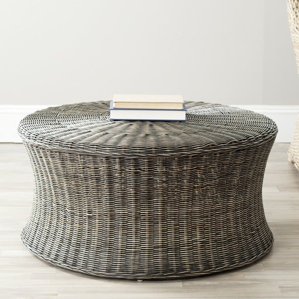 Safavieh Ruxton Storage Dark Brown Wicker Ottoman