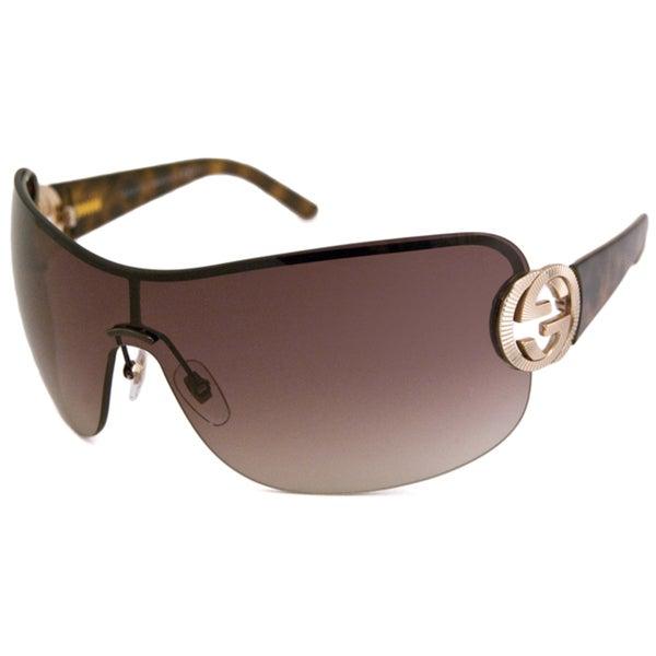 Gucci Women's 'GG 2890 UWW' Gold Havana Shield Sunglasses