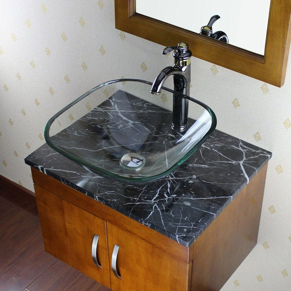 Elite Clear Square Glass Bathroom Vessel Sink