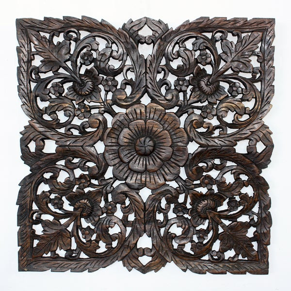 Black Carved Inlay Square Lotus Panel (Thailand)