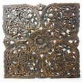 Black Carved Inlay Square Lotus Panel (Thailand)