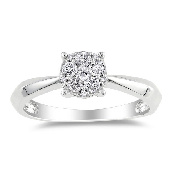 Miadora 14k White Gold 1/4ct TDW Cluster Diamond Ring (G-H, I1-I2)