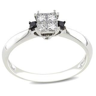 Miadora 14k White Gold 1/3ct TDW Black and White Diamond Ring (G-H, I1-I2)
