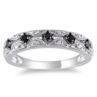 Miadora 10k White Gold 1/5ct TDW Black and White Diamond Ring (G-H, I1-I2)