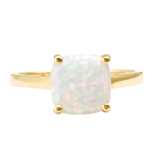 10k Yellow Gold Cushion cut Created Opal Solitaire Ring Size 8 Overstock