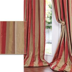 Red/ Golden Tan Striped Faux Silk Taffeta 96-inch Curtain Panel