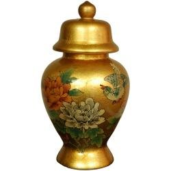 Porcelain 11-inch Gold Temple Jar (China)