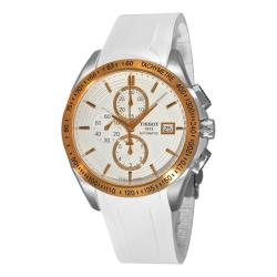 Tissot Men's 'Veloci-T Automatic' White Rubber Strap Chronograph Watch