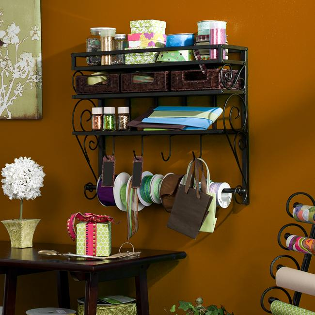 Burnet Espresso Wall Mount 2-Shelf Craft Storage Rack