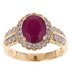 D'Yach 14k Yellow Gold Ruby and 2/5ct TDW Diamond Fashion Ring (G-H, I1-I2)