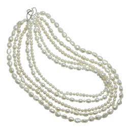 Pearls for You Five-strand White Freshwater Pearl Necklace (4 mm - 11 mm)