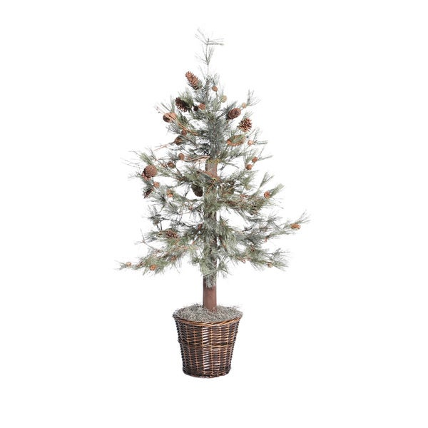 Feather Pine Tree 4-foot Silk/ Polyester Extra Full Decorative Plant