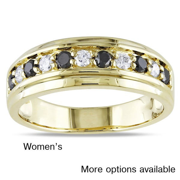 Miadora 10k Yellow Gold 1/2ct TDW His or Her's Black and White Diamond Ring (H-I, I2-I3)