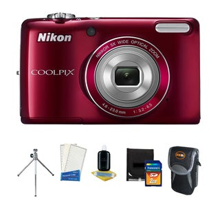 Nikon Coolpix L26 16.1MP Red Digital Camera with Deluxe Bonus Kit (Refurbished)