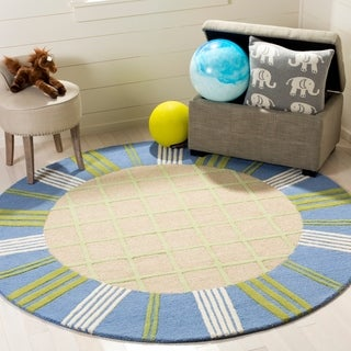 Safavieh Handmade Children's Plaid Beige New Zealand Wool Rug (6' Round)