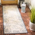 Safavieh Natural/ Blue Indoor Outdoor Rug (2&#39;2 x 14&#39;)