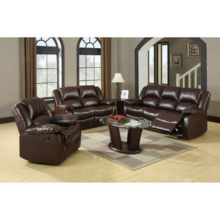 Furniture of America Winsley 3-piece Classic Plush Cushion Recliner Sofa Set