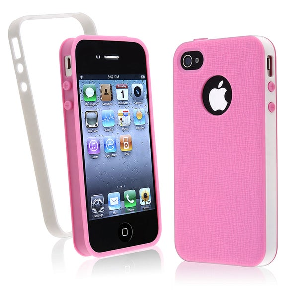 BasAcc Hot Pink/ White Trim TPU Case for Apple iPhone 4/ 4S