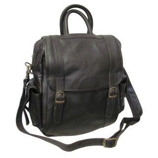Amerileather Unisex Three-way Brown Top-Grain Cowhide Leather Backpack