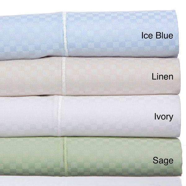 Grandeur Dobby Checks Cotton Blend Sateen Weave 800 Thread Count 6-piece Sheet Set