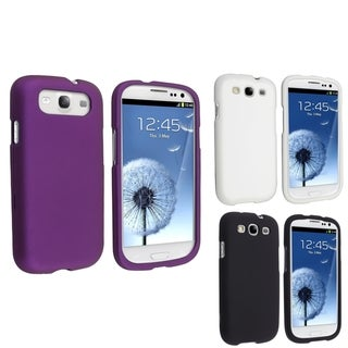 BasAcc Snap-on Rubber Coated Case for Samsung Galaxy SIII/ S3 (Pack of 3)
