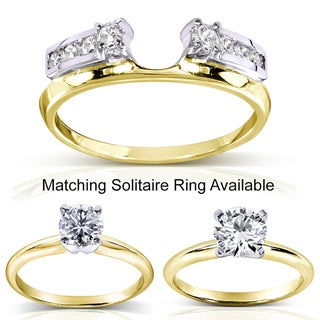 Annello 14k Two-tone Gold Round Cut Diamond Wrap or Round Cut Solitaire Ring (H-I, I1-I2) with Bonus Item