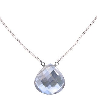 Ashanti Sterling Silver Natural Rock Crystal Necklace (Sri Lanka)