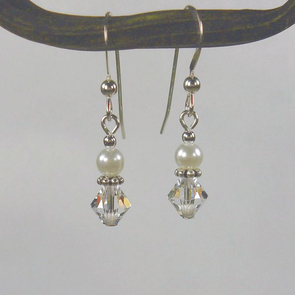 Jewelry by Dawn Sterling Silver White And Crystal Bicone Double Bead Earrings