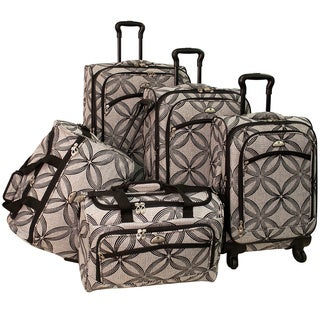 American Flyer Clover Metallic 5-piece Black/Grey Expandable Spinner Luggage Set