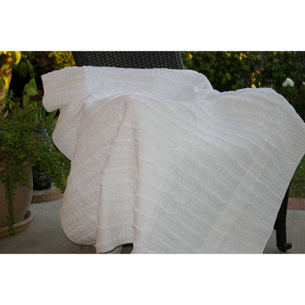 Greenland Home Fashions Ruffled White Quilted Throw
