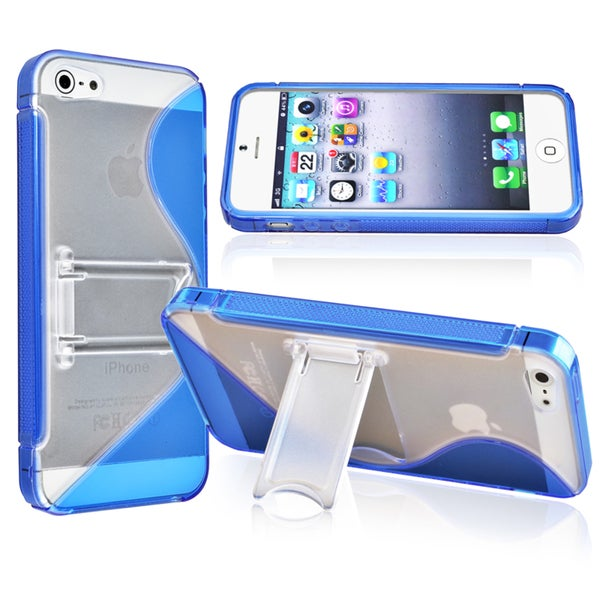 INSTEN Blue S Shape TPU Phone Case Cover for Apple iPhone 5