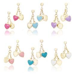 Little Miss Twin Stars 14k Gold-plated Children's Enamel Heart Dangle Earrings