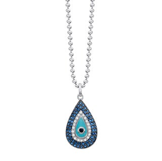 Silver Sapphire and 1/3ct TDW Diamond Evil Eye Necklace (J-K, I2-I3)