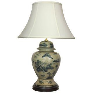 Handcrafted Porcelain Temple Jar Lamp with Fabric Shade (China)
