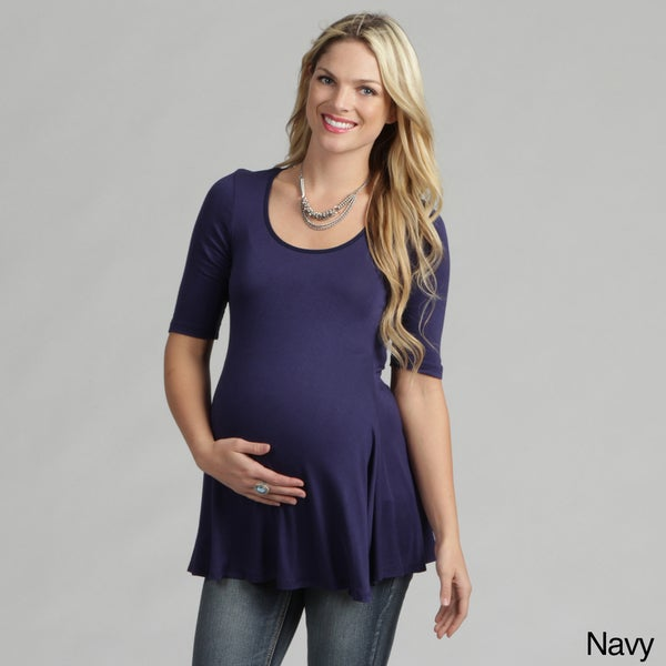 24/7 Comfort Apparel Women's Maternity 3/4-sleeve Tunic
