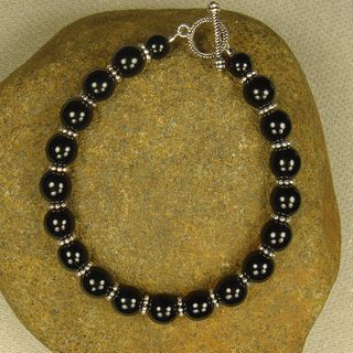 Jewelry by Dawn Black Glass And Pewter Bracelet