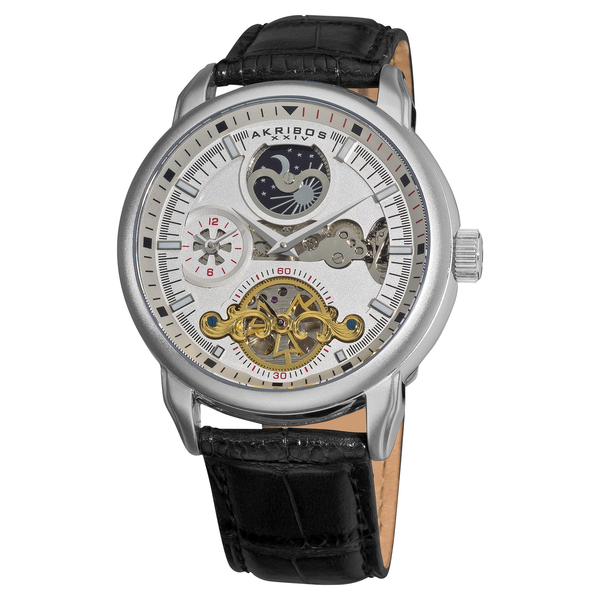 Eziba Collection Akribos XXIV Men's Mechanical Dual Time Open Heart Leather Strap Watch at Sears.com