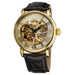 Akribos XXIV Men's Automatic Skeleton Round Leather Strap Watch